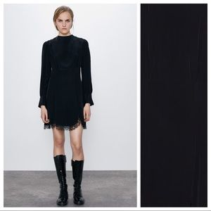 NWOT. Zara Black Mini Draped Dress. Size S.